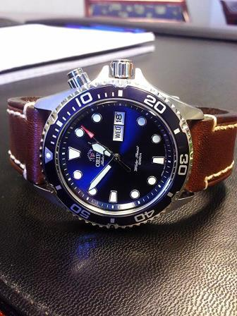 orient blue ray on a calfskin strap