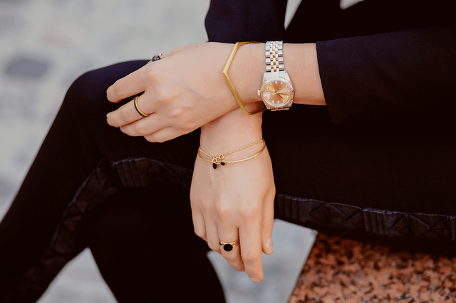 metal bracelet with wristwatch